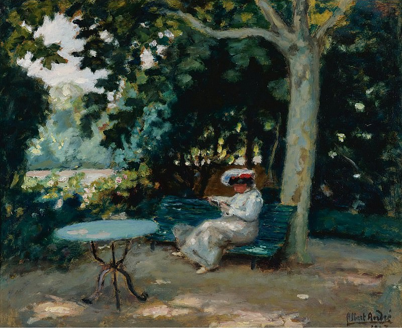 Albert Andre - Reading at the Garden, 1903. Sotheby's