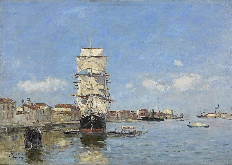 Eugene Boudin - Venice, the Vessel near the Landing-Stage. Canal de la Giudecca, 1895. Sotheby's