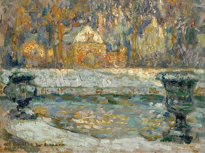 Henri Le Sidaner - The Pool of Neptune at Versailles, 1912-20. Картины с аукционов Sotheby's
