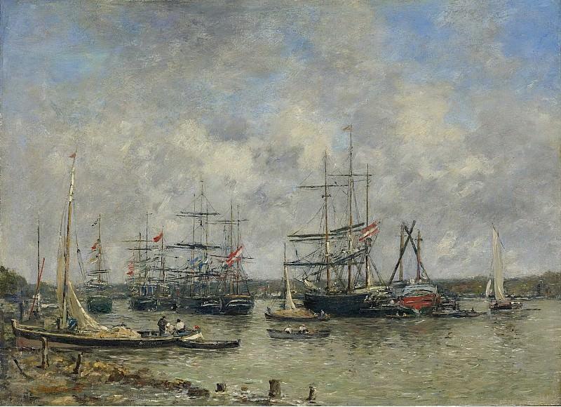 Eugene Boudin - Bordeaux, Three-Master on the Garonne, 1876. Sotheby's