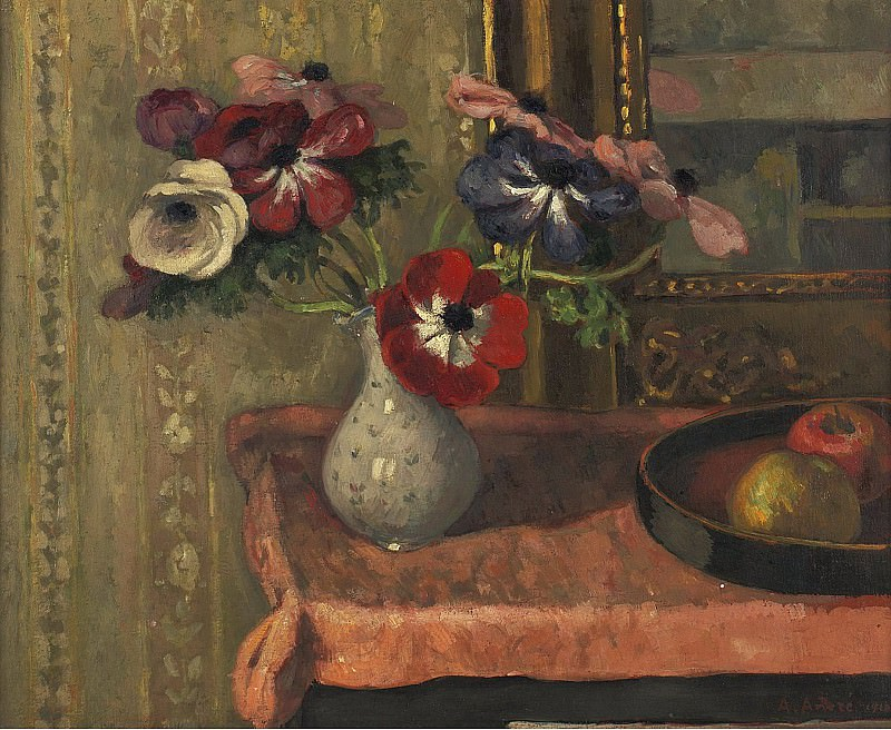 Albert Andre - Still Life - Vase of Flowers and Fruits on the Table, 1910. Картины с аукционов Sotheby's