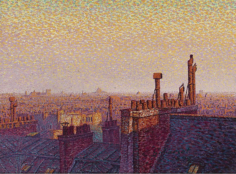 Gustave Cariot - The Roofs of Paris, Sunset, 1899. Картины с аукционов Sotheby's