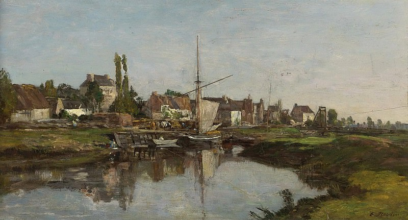 Eugene Boudin - Village in Normandie on the Riverbank, 1858-62. Sotheby's