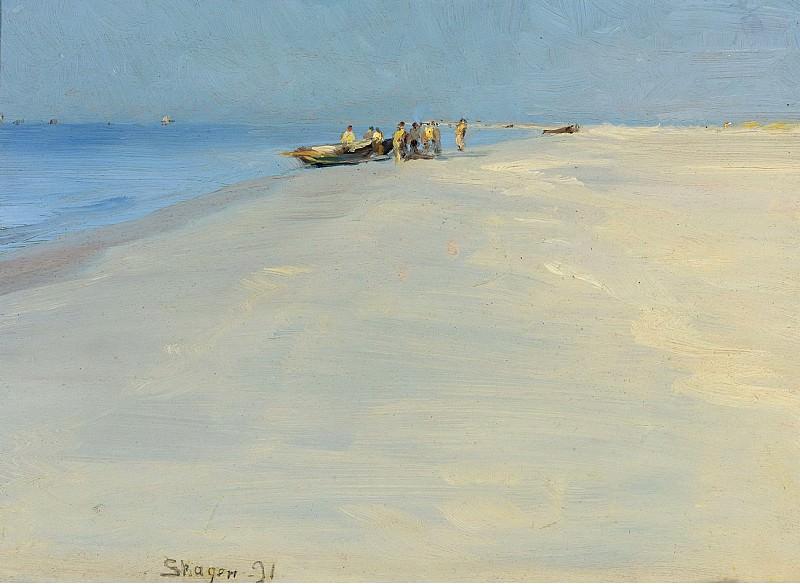 Peder Severin Kroyer - Fishermen on the Beach at Skagen, 1891. Sotheby's