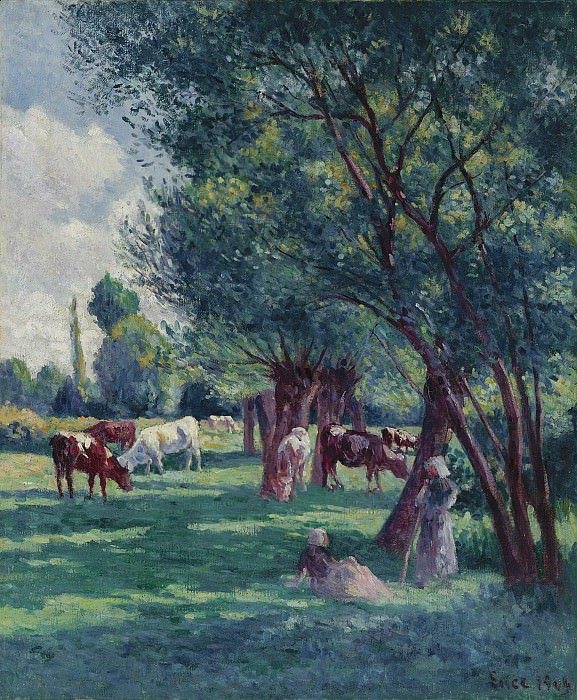 Maximilien Luce - Bessy-sur-Cure, Peasants Looking for the Cows, 1906. Sotheby's