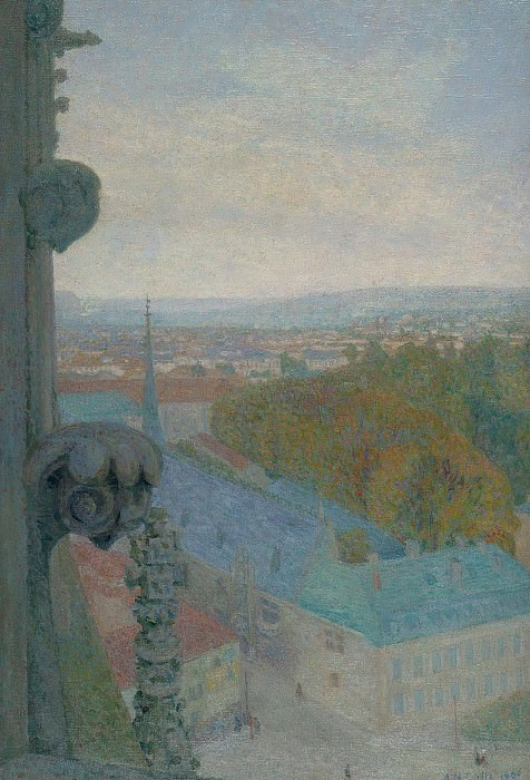 Michel Auguste Colle - Nancy, View of the Cathedral, Saint Eprve (Autumn), 1906. Sotheby's
