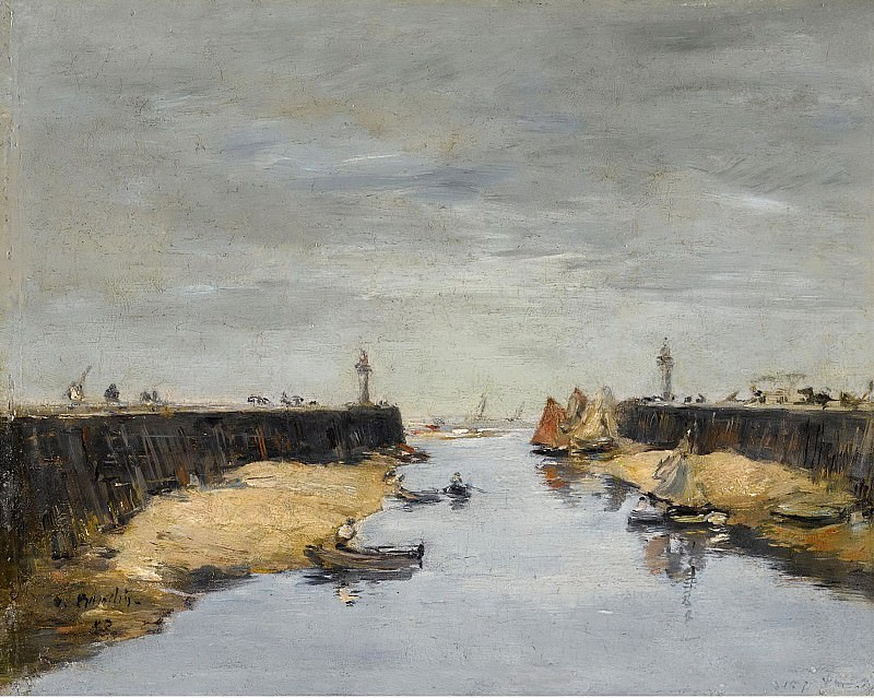 Eugene Boudin - Trouville, the Jetties, 1882. Sotheby's