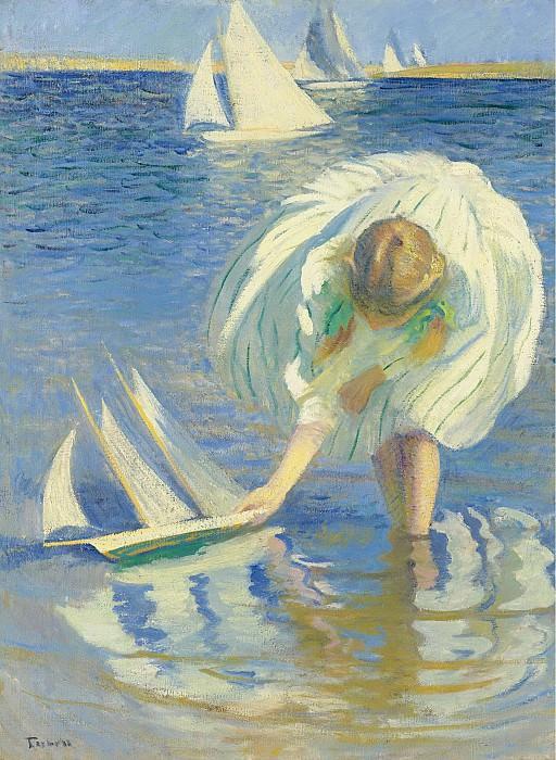 Edmund Charles Tarbell - Child with Boat, 1899. Картины с аукционов Sotheby's
