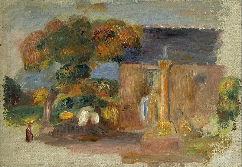Pierre Auguste Renoir - Landscape at Bretagne, the House and the Altair, 1902. Sotheby's