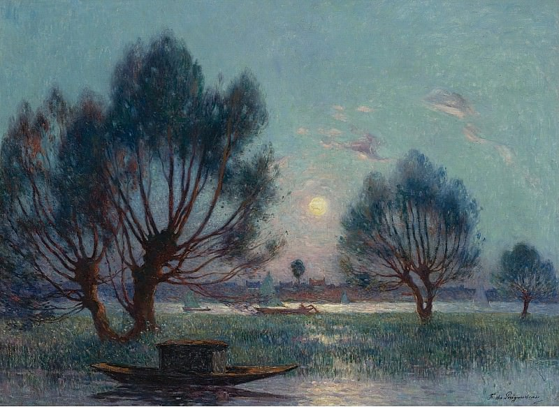 Ferdinand du Puigaudeau - Clear Moon above the Baks of the Loire. Sotheby's
