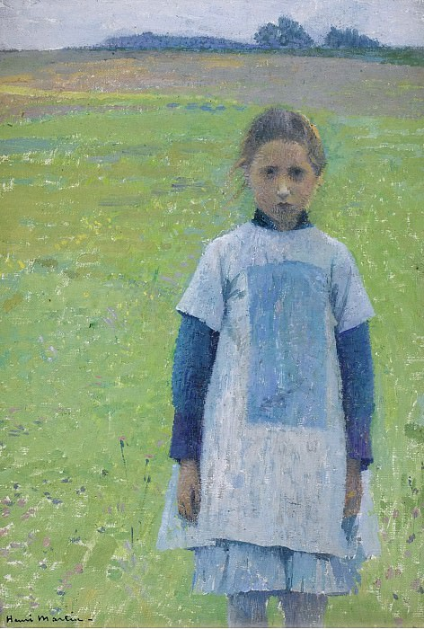 Henri Martin - Young Girl in the Field. Sotheby's