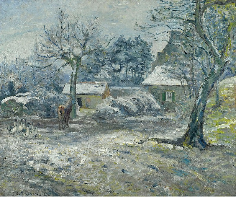 Camille Pissarro - The Farm at Montfoucault, Snow, 1874. Sotheby's