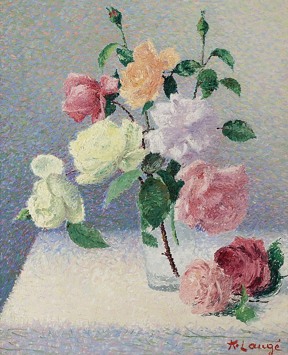 Achille Lauge - Bouquet of Roses in the Glass. Sotheby's