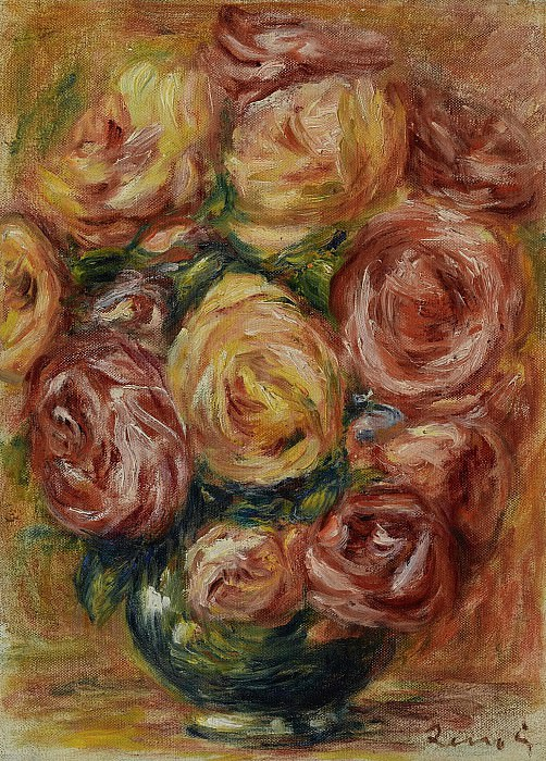 Pierre Auguste Renoir - Vase with Roses. Sotheby's