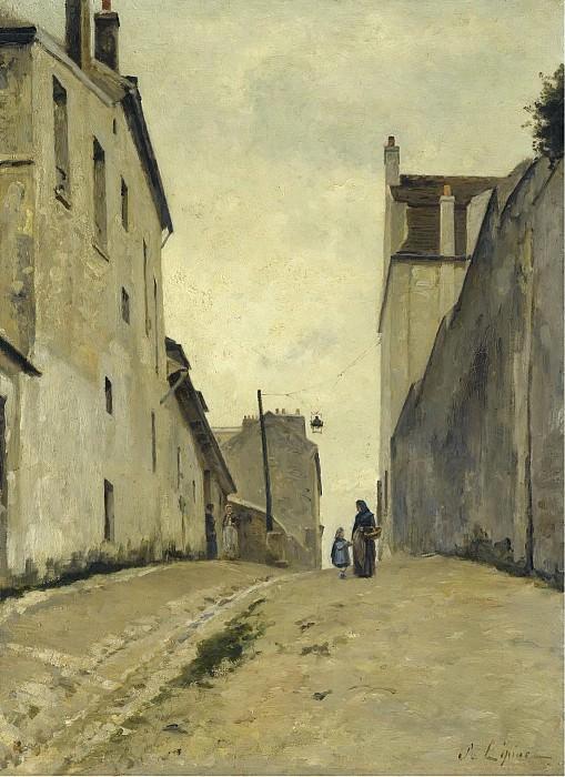 Stanislas Lepine - Montmartre, la Rue du Mont-Cenis, 1868-72. Sotheby's
