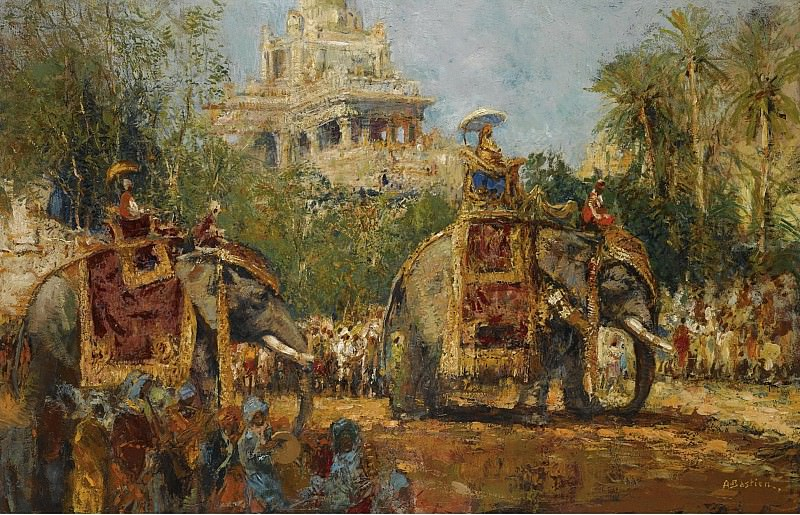Alfred Bastien - Maharaja and His Elephants at the Procession in the Festival of Dussehra at Mysore. Картины с аукционов Sotheby's