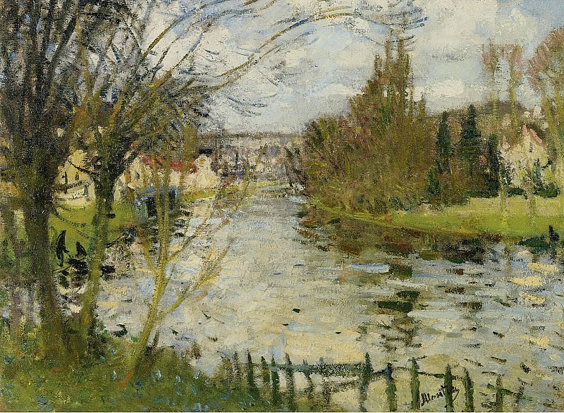 Pierre-Eugene Montezin - Village at the Bank of the River. Sotheby's