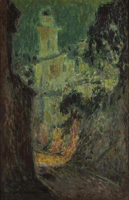 Henri Le Sidaner - Street under the Moon, Villefranche-sur-Mer, 1926. Sotheby's