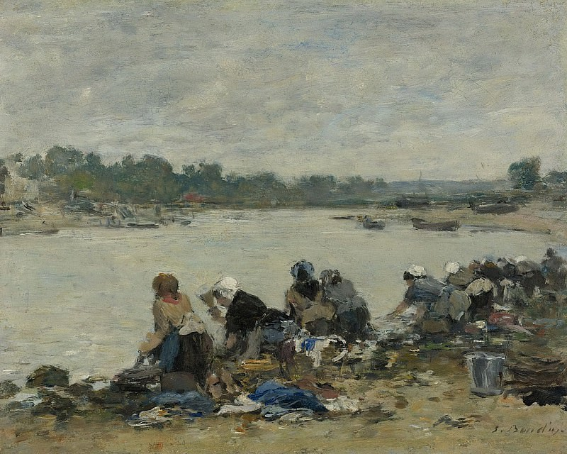 Eugene Boudin - Laundresses at the Bank of the Touques, 1885-90. Sotheby's