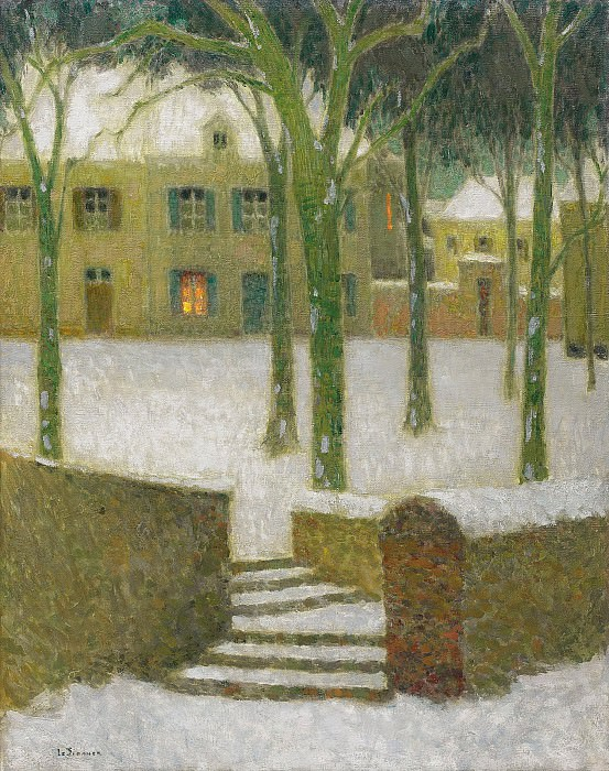 Henri Le Sidaner - The Square, Nemours, 1930. Sotheby's