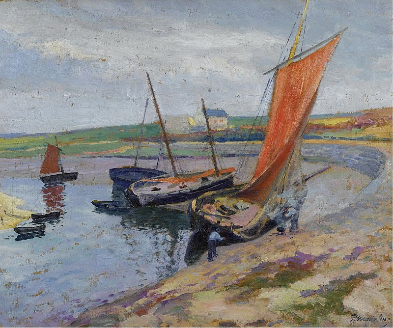 Paul Madeline - The Boat on the Seabank. Sotheby's