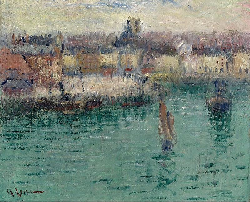 Gustave Loiseau - Dieppe, the Port of Avant, 1929. Sotheby's