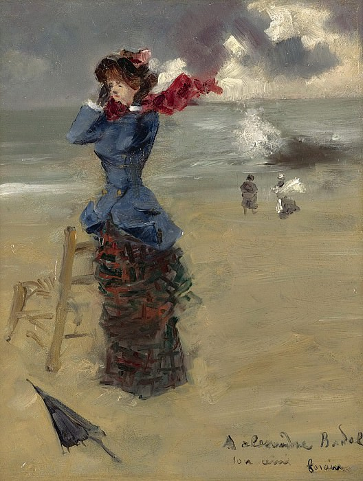 Jean-Louis Forain - Elegant Woman at the Beach, 1885. Sotheby's