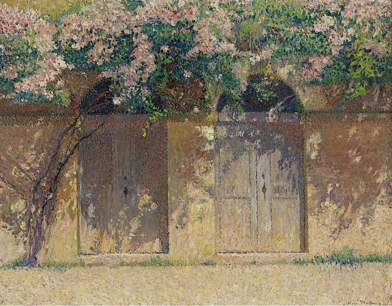 Henri Martin - The Pair of Gates under the Dog-Rose in Bloom. Sotheby's