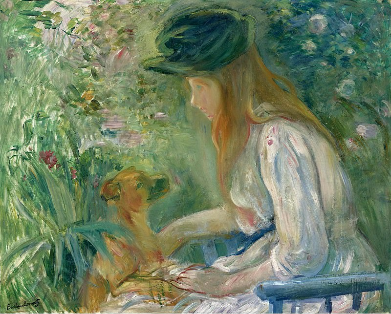 Berthe Morisot - Young Woman with the Dog, 1892. Sotheby's