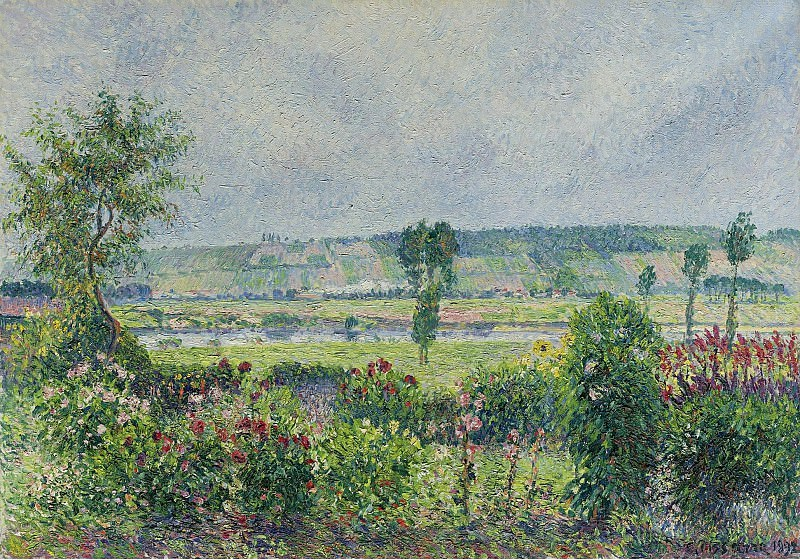Camille Pissarro - The Valley of the Siene near Damps, the Garden of Octave Mirbeau, 1892. Картины с аукционов Sotheby's