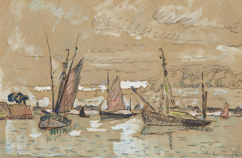 Paul Signac - Boats of Honfleur, 1922. Sotheby's