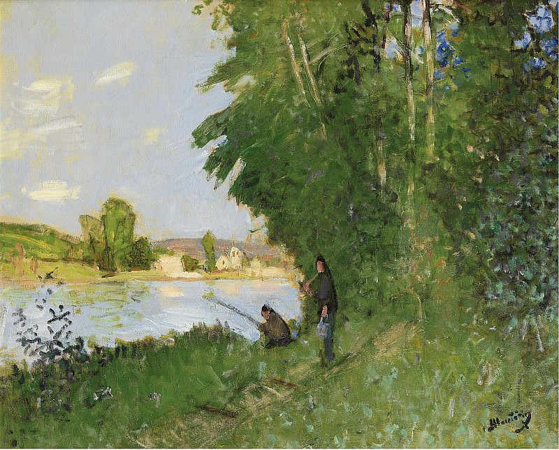 Pierre-Eugene Montezin - Landscape with Two Fishermen. Sotheby's