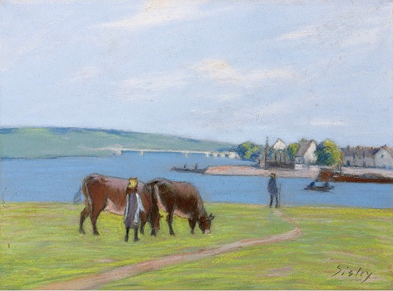 Alfred Sisley - The Cows at the Bank of the Seine at Saint-Mammes, 1885. Картины с аукционов Sotheby's