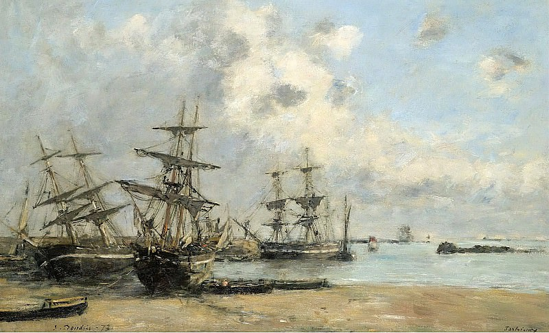 Eugene Boudin - Portrieux, Vessels in the Port, 1873. Sotheby's