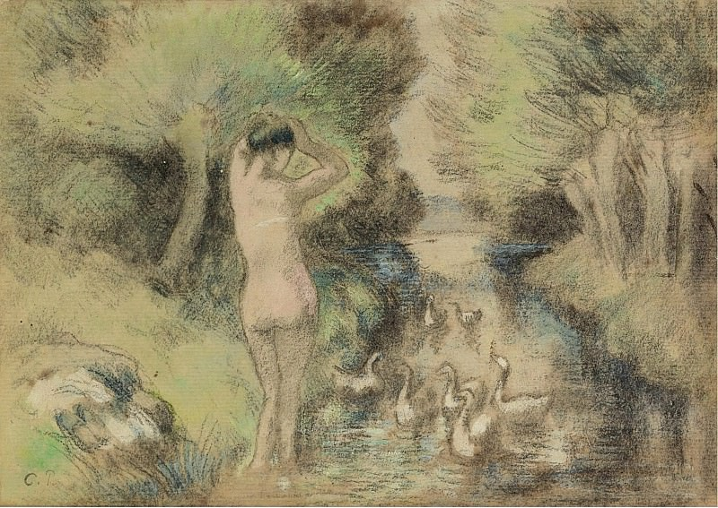 Camille Pissarro - Bathing with Geese, 1895. Sotheby's