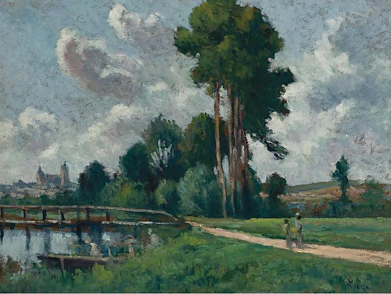 Maximilien Luce - Auxerre, Landscape of a Riverbank, 1900. Sotheby's
