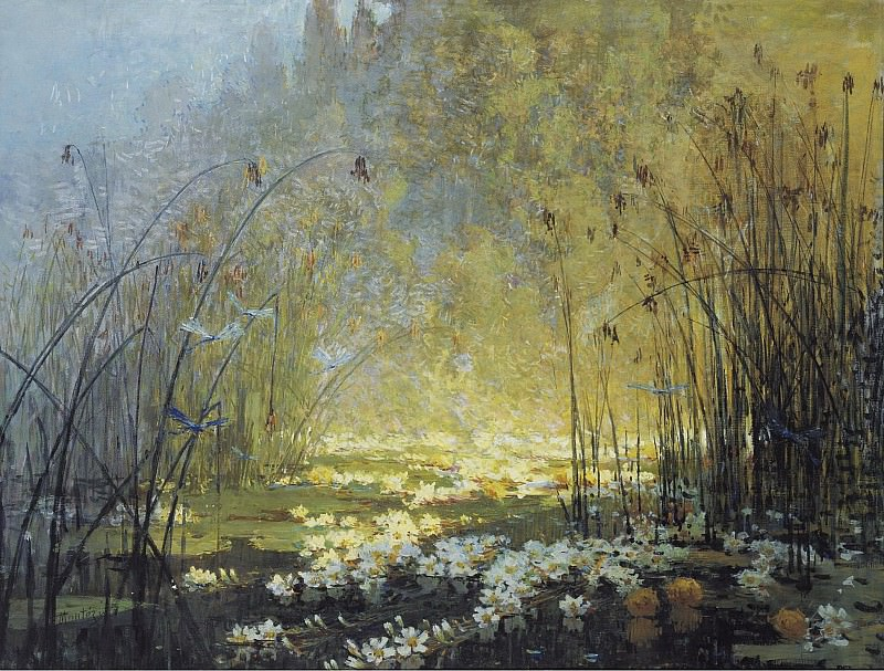 Монтезин, Пьер Эжен - The Pond with Waterlilies and Dragon-Flies. Картины с аукционов Sotheby's