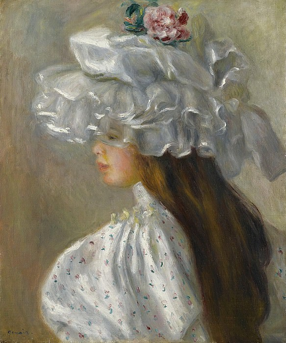 Pierre Auguste Renoir - Young Woman in White Head, 1892. Sotheby's