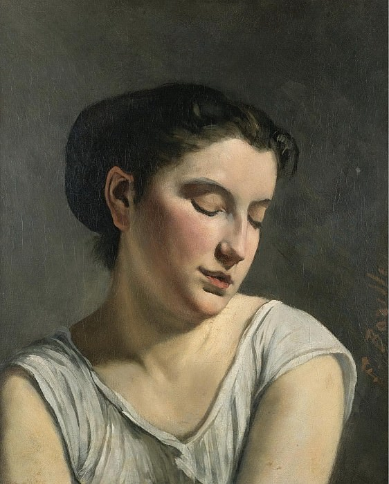 Frederic Bazille - Young Woman Lowering Head, 1868. Sotheby's