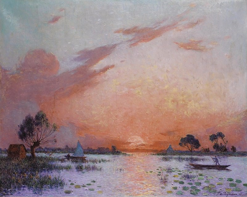 Ferdinand du Puigaudeau - Sunset in Briere, 1925. Sotheby's