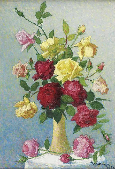 Achille Lauge - Vase of Roses, 1924. Sotheby's