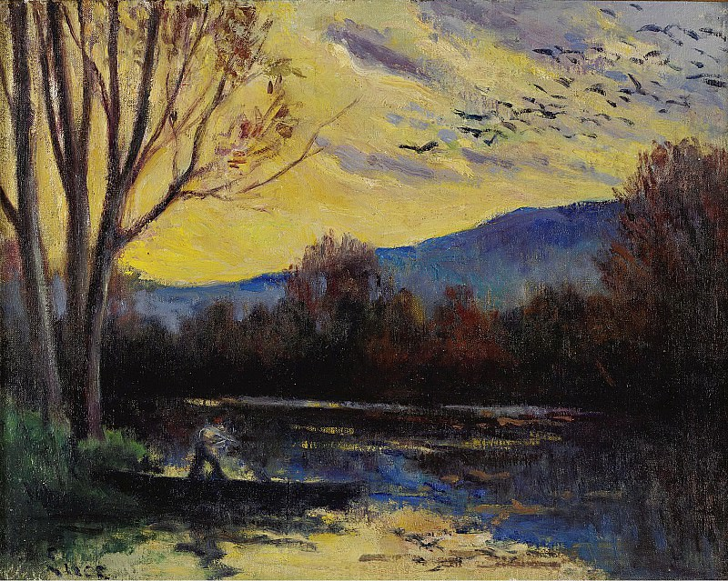 Maximilien Luce - Moulineux, Sunset over the Etang. Sotheby's