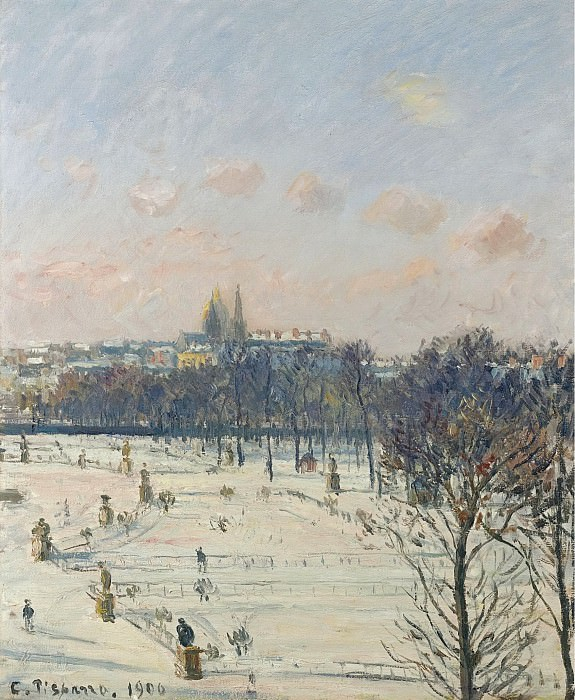 Camille Pissarro - The Garden of Tuileries, Snow Effect, 1900. Картины с аукционов Sotheby's