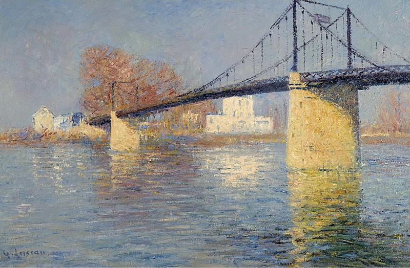 Gustave Loiseau - Suspended Bridge at Triel-sur-Seine, 1917. Картины с аукционов Sotheby's