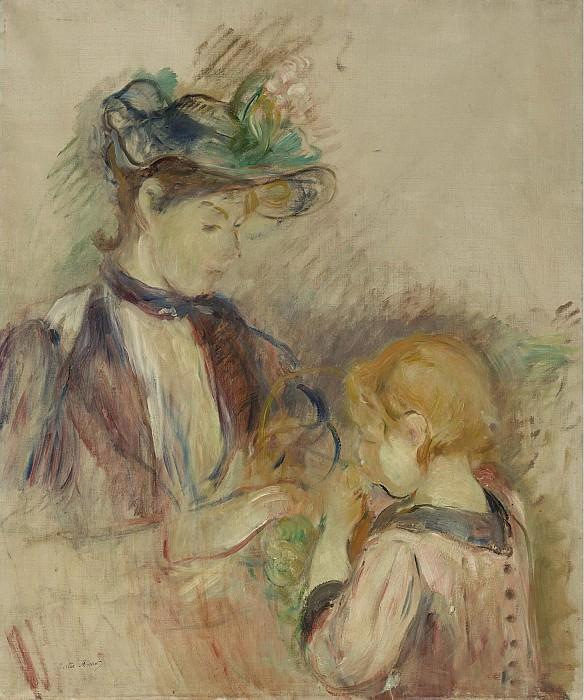 Berthe Morisot - Young Woman and Child, Avenue du Bois, 1884. Sotheby's