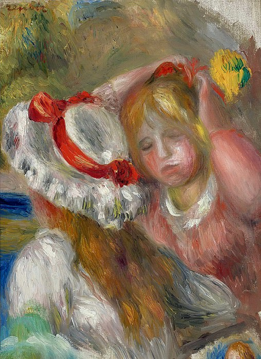 Pierre Auguste Renoir - Hat with Red Ribbon, 1895. Картины с аукционов Sotheby's