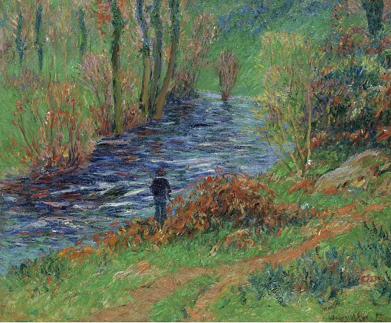 Henry Moret - Fisher on the Bank of the River, 1904-05. Sotheby's