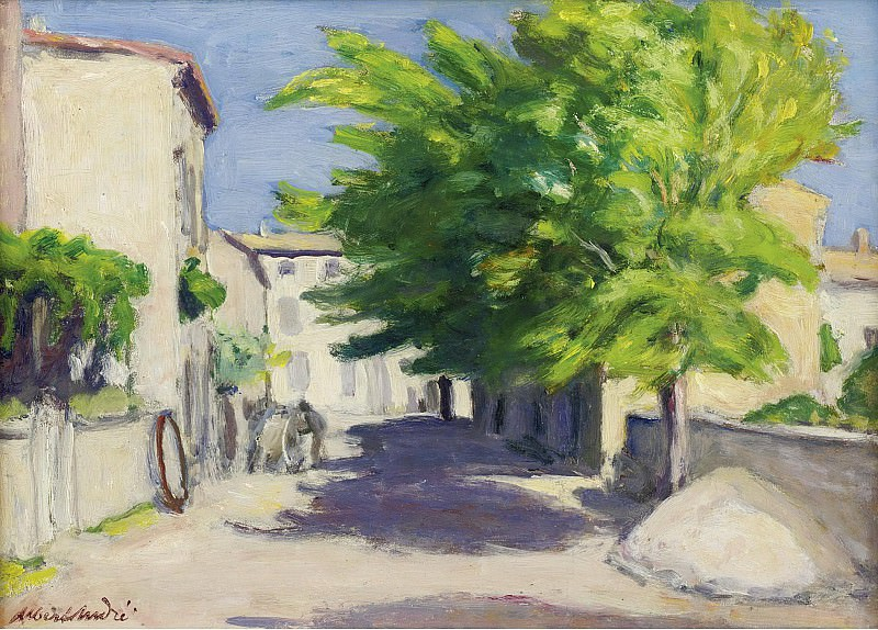 Albert Andre - Village Street in Provence. Картины с аукционов Sotheby's