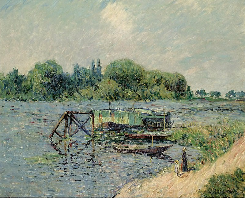Gustave Loiseau - Laun Place on the Seine at Herblay, 1906. Sotheby's