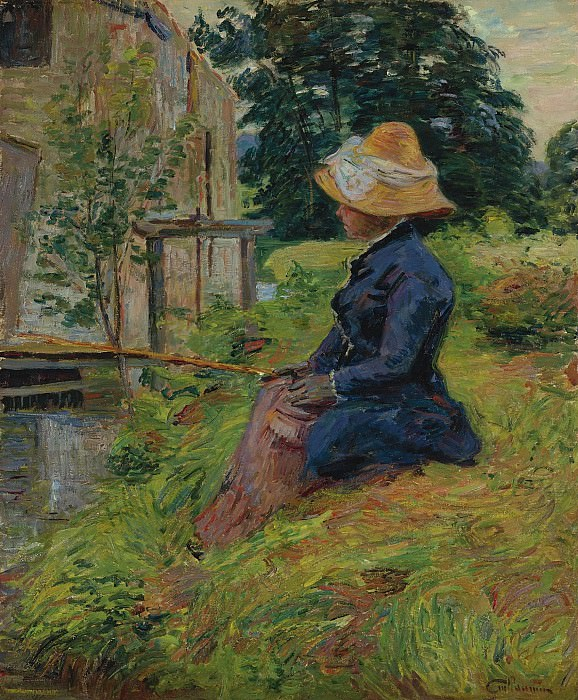 Armand Guillaumin - Madame Guillaumin Fishing, 1885. Sotheby's